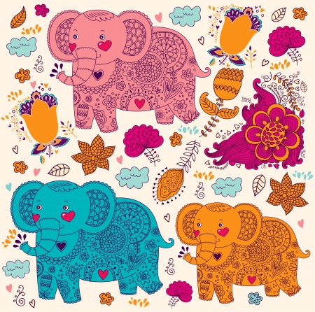 baby elephant: cartoon pattern with elephants