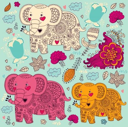 cartoon pattern with elephants Stock Vector - 18183542