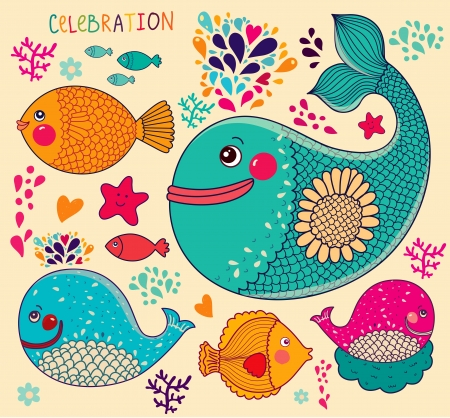 Vector illustration with fishes and whales Stock Vector - 18183611