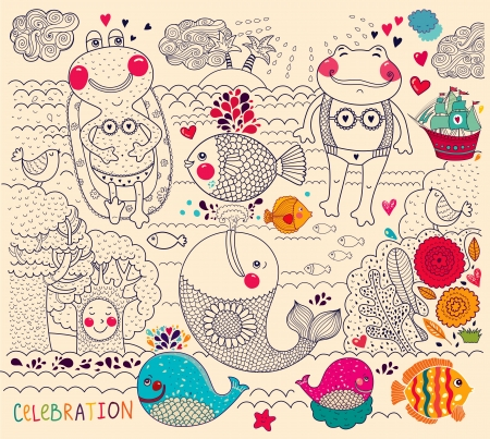 cartoon illustration with happy frogs Ilustrace