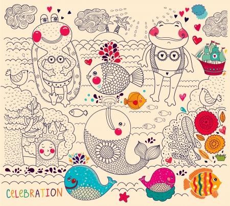 illustration de bande dessinée avec des grenouilles heureuses