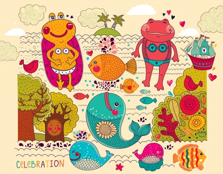 fishes pattern: cartoon illustration with happy frogs Illustration