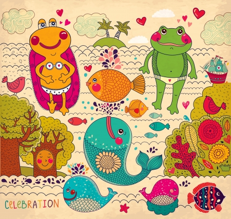 tree frogs: cartoon illustration with happy frogs Illustration