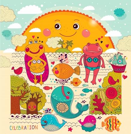 rajzfilm illusztráció boldog békák Illusztráció