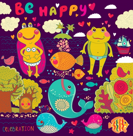 cartoon illustration with happy frogs Vector