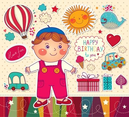 Tarjeta del feliz cumpleaños con el muchacho y juguetes Vectores