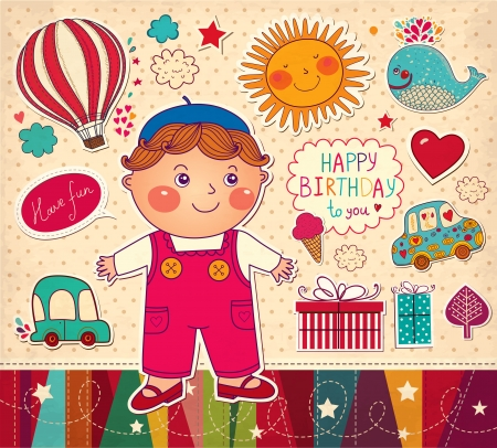 Happy Birthday card with boy and toys Vector