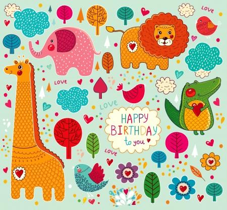illustration zoo: set di adesivi cartoni animati con gli animali