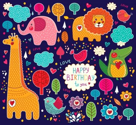 Állítsa be a rajzfilm matricák állatokkal Illusztráció