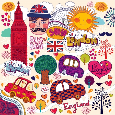 ロンドンのシンボルのセット  イラスト・ベクター素材