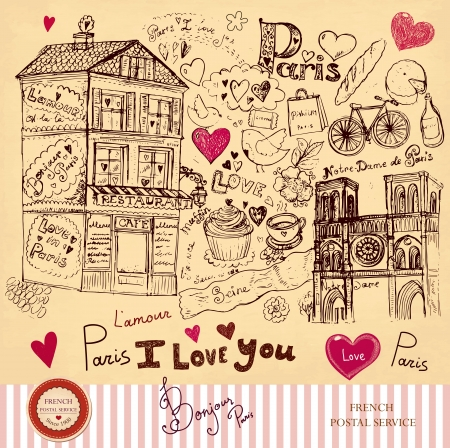 hand drawn card with Paris symbols  Vector