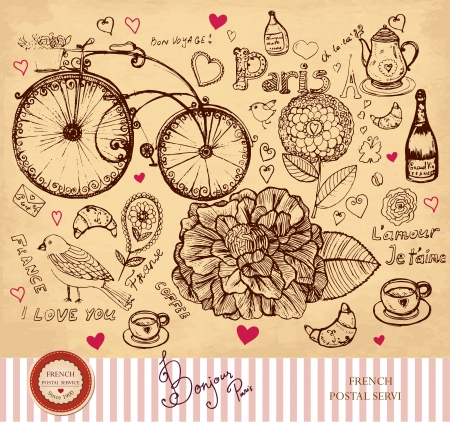 hand drawn card with Paris symbols  Çizim