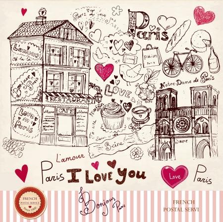 paris vintage: dibujado a mano tarjeta con símbolos de París Vectores
