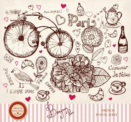 bicicleta retro: dibujado a mano tarjeta con s�mbolos de Par�s Vectores