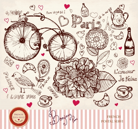 hand drawn card with Paris symbols  Ilustrace