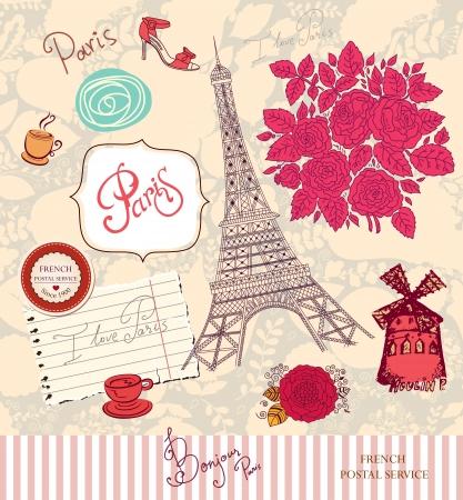 romantic travel: set of Paris symbols Illustration
