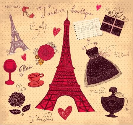 eiffel tower: set of Paris symbols Illustration
