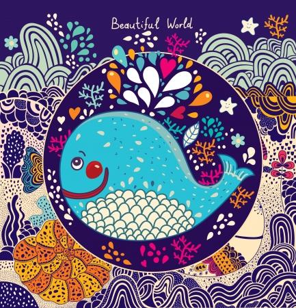 ballena: ilustraci�n con ballena Vectores