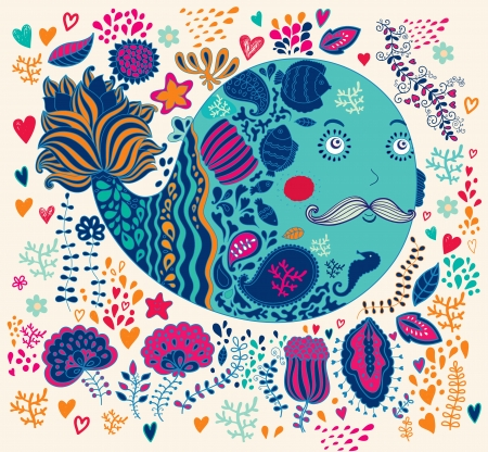 decorative illustration with whale Illustration