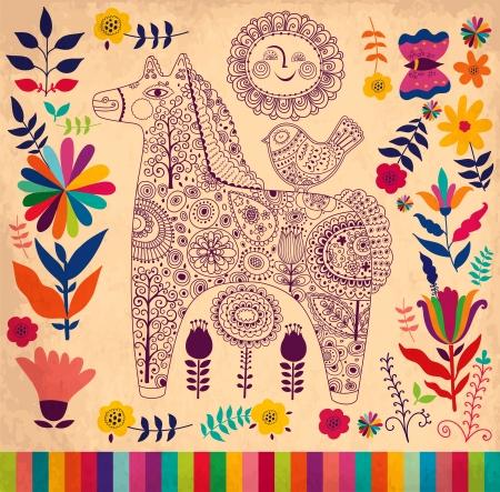 rugs: Vector decorative horse