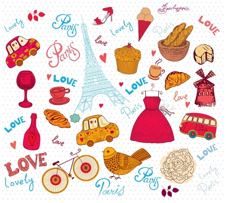 Vector set of Paris symbols Stock Vector - 18417891