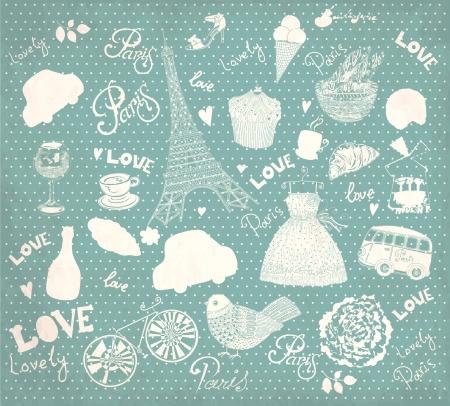 Vector set de symboles de Paris Illustration