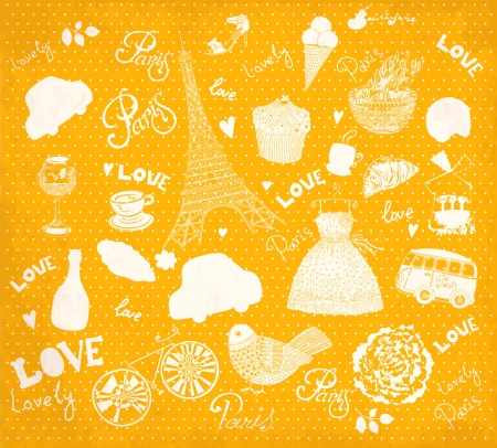 Vector set of Paris symbols Stock Vector - 18417908