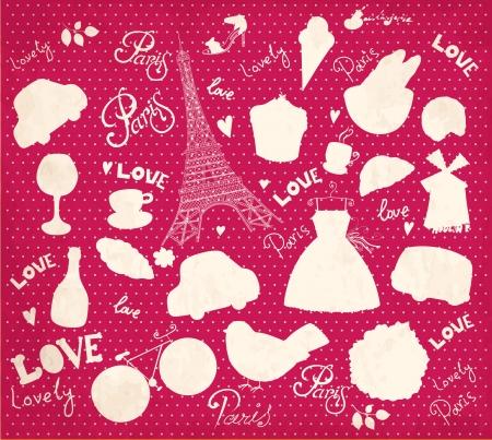 valentine s day: Vector set of Paris symbols