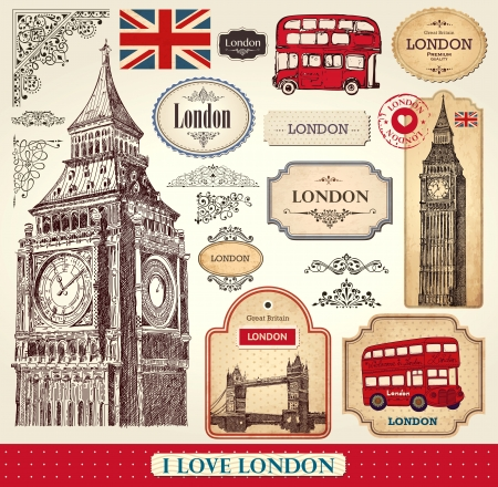 retro design elements: Vector set of London symbols