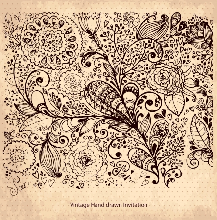 Vintage card with floral pattern Vector