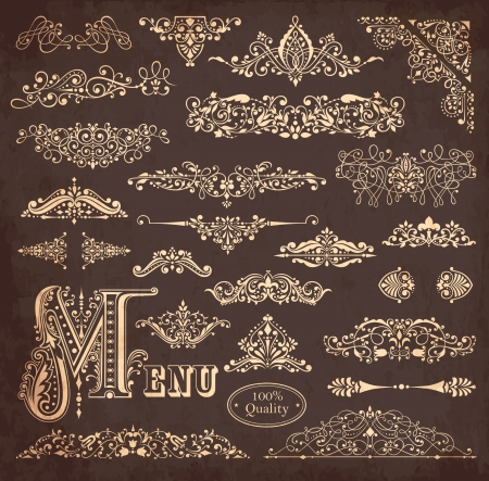verzamelen van gedetailleerde vintage grenzen, ornamenten en elementen van de decoratie Stock Illustratie