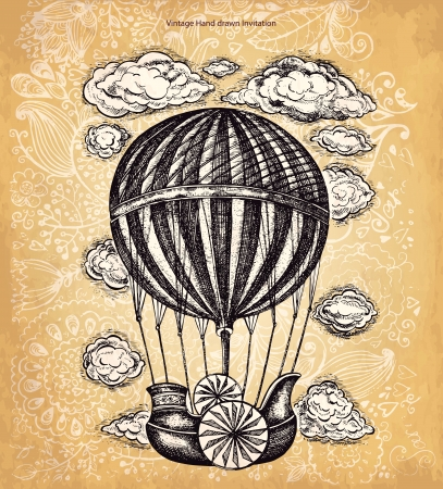 luftschiff: Weinlese, Vektor Handzeichnung Ballon Illustration