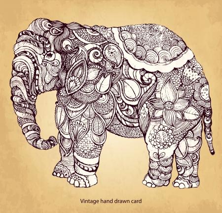 Disegnati a mano elefante indiano Vettoriali