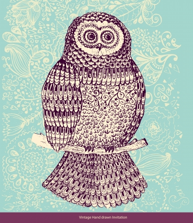 Decorative hand drawn owl Vector
