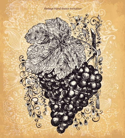 Vintage card with grape Vector