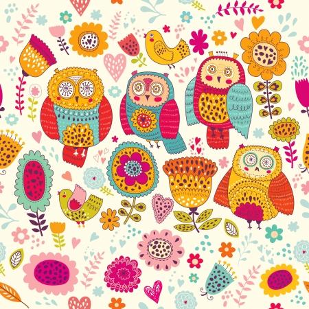 buhos y lechuzas: Patr�n de vectores sin fisuras con hermosos b�hos alegres y flores