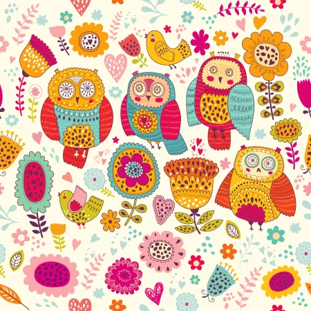 owls: Seamless vector pattern with beautiful cheerful owls and flowers