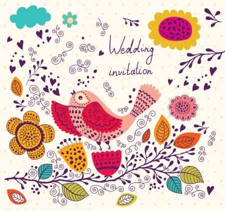 Lindo pájaro en la rama de la tarjeta de felicitación de vacaciones con flores y pájaros