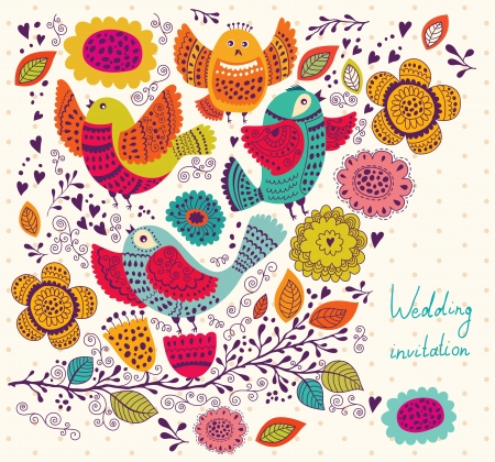 Cute birds on branch  Holiday greeting card with flowers and birds Illustration