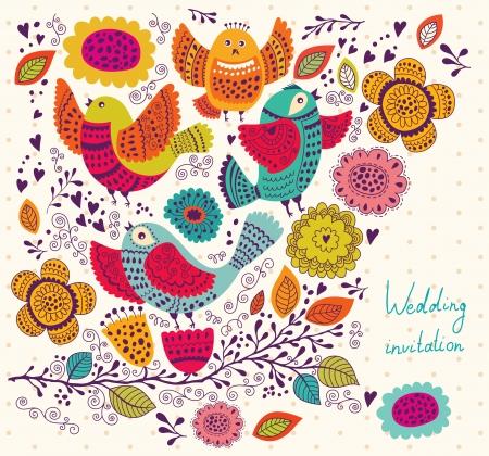 Pássaros bonitos na filial cartão do feriado com flores e pássaros Ilustração
