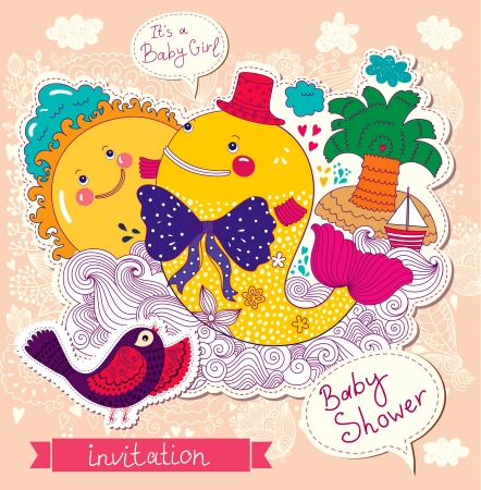 Baby shower invitation with beautiful funny whale and bird Çizim