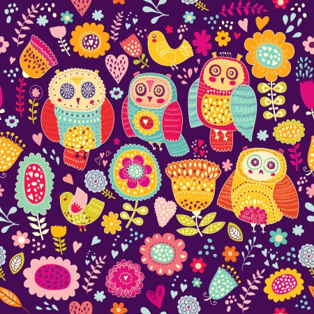 Seamless vector pattern with beautiful cheerful owls and flowers