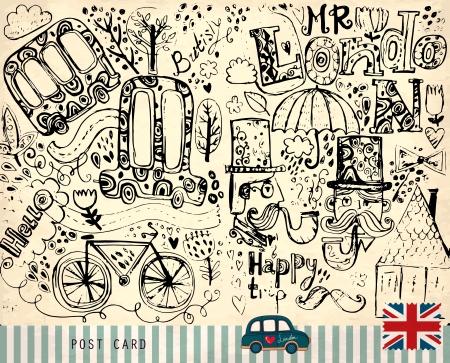 lettrage: main dessin� vecteur illustration avec des symboles de Londres