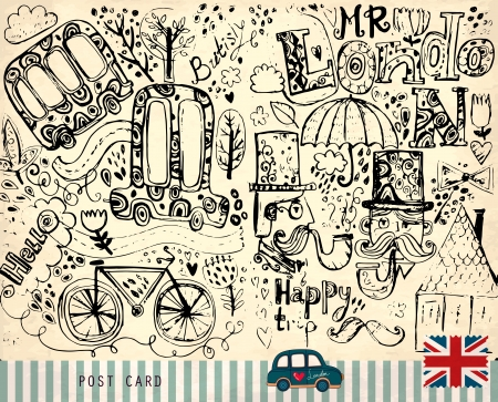 Vector hand drawn illustration with London symbols  Vector