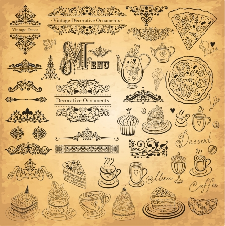 Vector set of floral borders, ornaments and decorative elements for design menu  Vintage style restaurant menu  Vector
