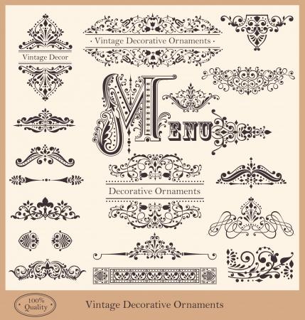 詳細的復古邊框,飾品和裝飾元素矢量集合