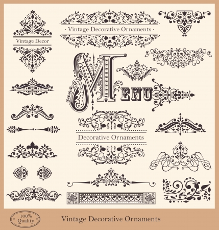 Vector collection of detailed vintage borders, ornaments and elements of decoration Stok Fotoğraf - 19756899