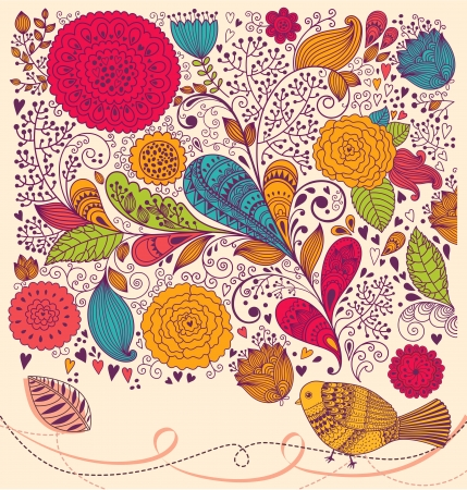Floral pattern with bird  Holiday background