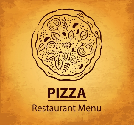 pizzeria label: Pizza design menu Illustration