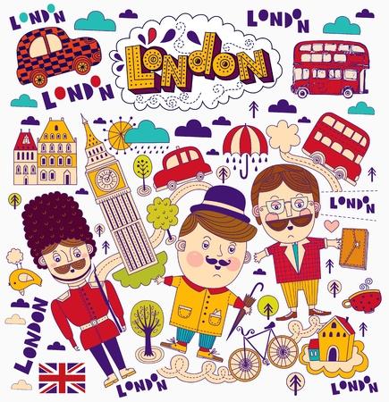 bandiera inglese: Vector set di simboli di Londra e punti di riferimento